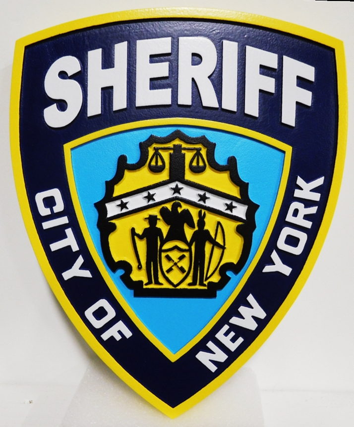 PP-2050 - Carved Plaque of the Shoulder Patch of the Sheriff of the City of New York, 2.5-S Artist-Painted