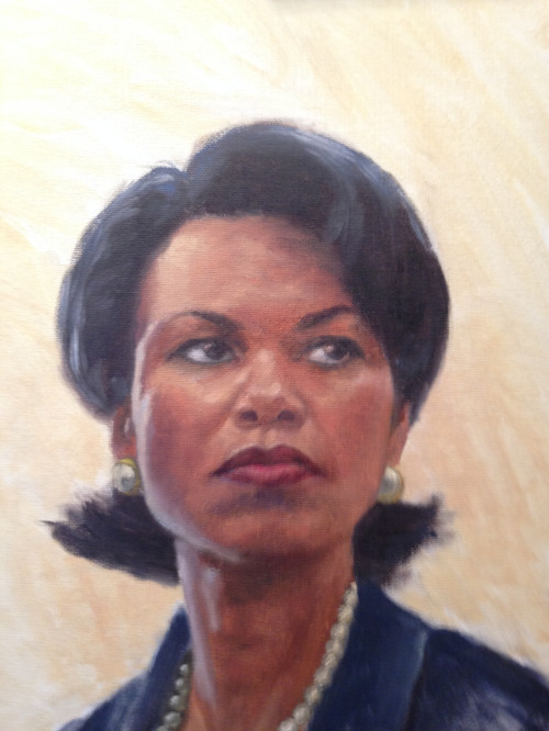 "Condoleezza, Oil on canvas board, 12"" x 16"""