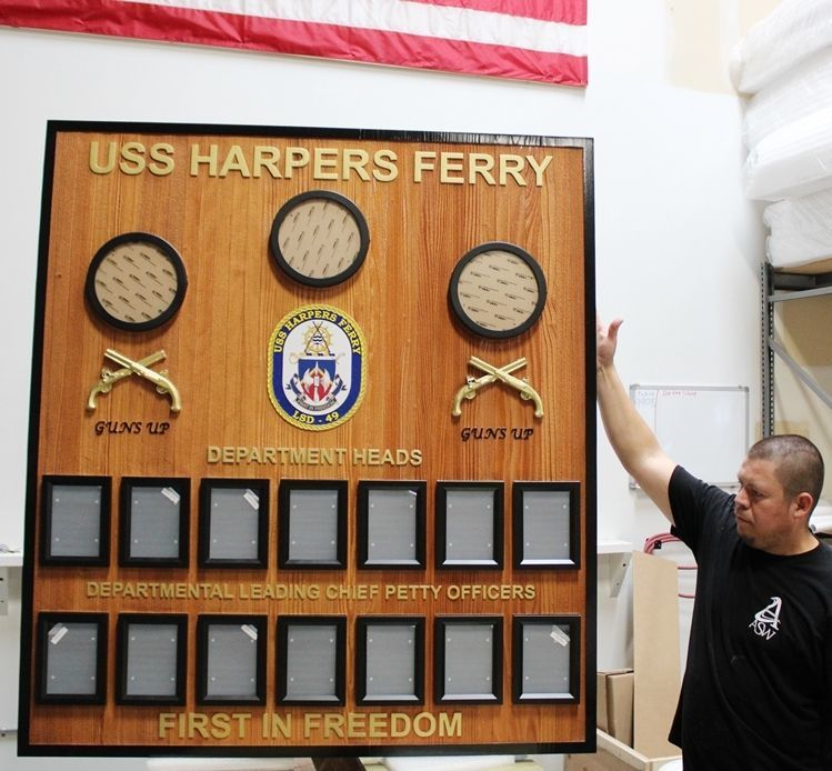 SA1325 - Carved Redwood Chain-of-Command Board for the USS Harper's Ferry, LSD-49,
