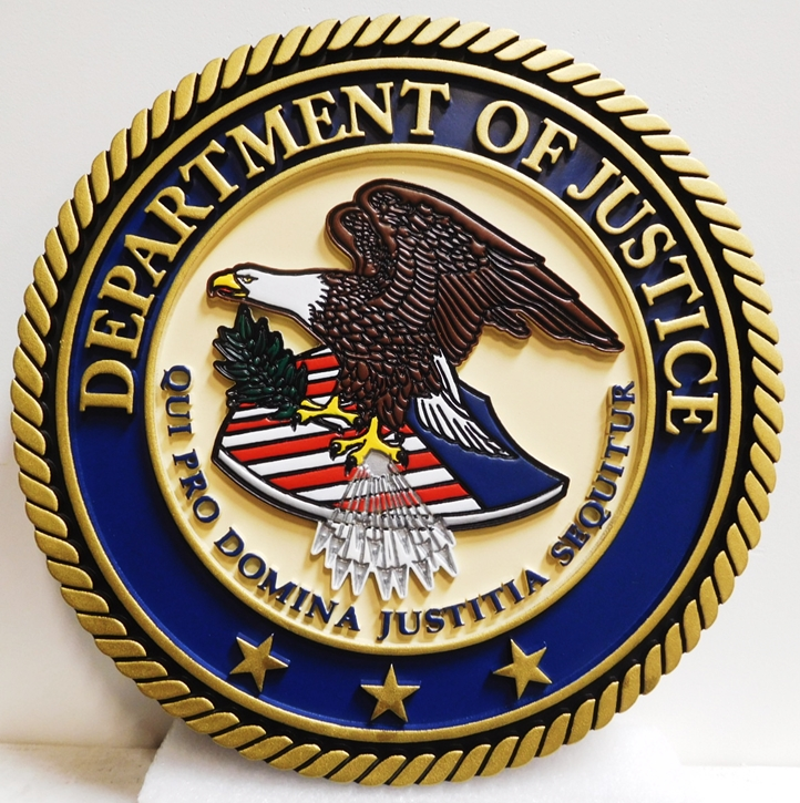 FP-1567 - Carved Seal of the US Department of Justice, 2.5-D MultiLevel Engraved, Artist-Painted