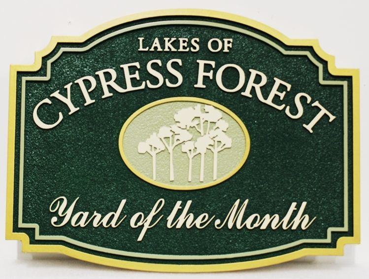 "KA20965 - Carved High-Density-Urethane (HDU) Yard-of-the-Month Sign for the ""Cypress Forest"" Home Owners Association (HOA)"