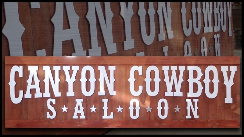 M5103 - Western-style Canyon Cowboy Saloon Sign, Stained Redwood Signboard with Separate Letters Overlaid