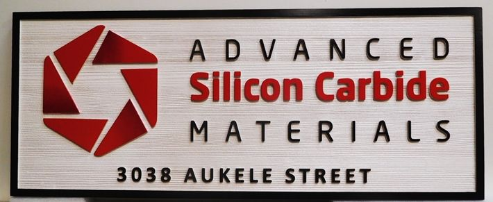 """S28127 - Carved and Sandblasted Wood Grain  HDU Commercial Sign  for the """"Advanced Silicon Carbide Materials """" Company,  2.5-D Artist-Painted"""