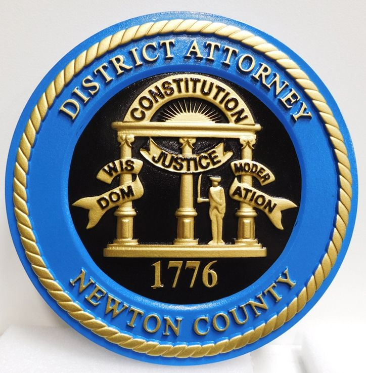 CP-1370- Carved Plaque of the Seal of the District Attorney of Newton County, Georgia, 3-D and Artist-Painted