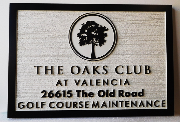 "E14236  - Carved  HDU Sign, ""The Oaks Club at Valencia"", 2.5-D Raised Relief with Sandblasted Wood Grain Background"