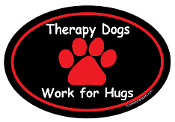 Therapy dogs work for hugs - oval