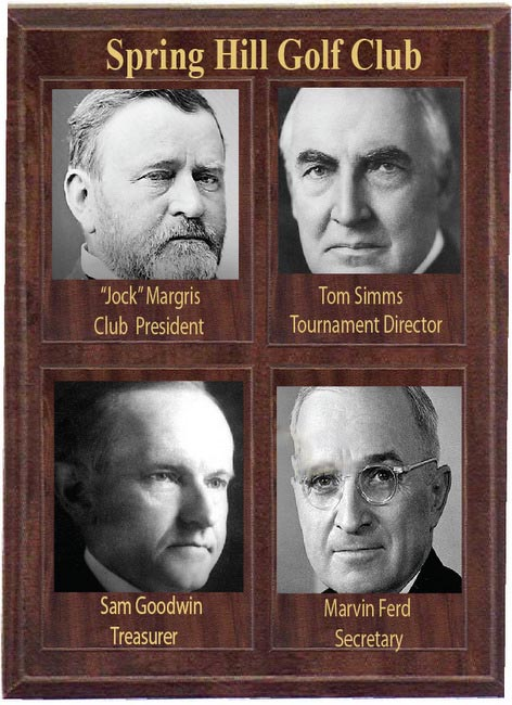 E14720 - Golf Club Wood Wall Plaque with Photos of Club Officers