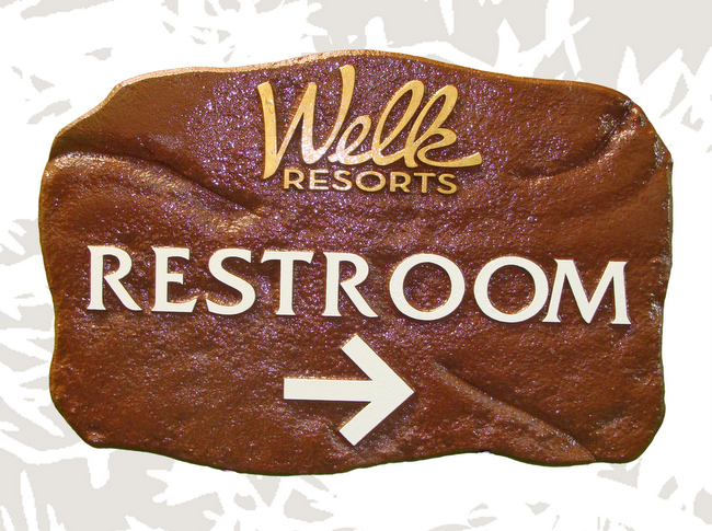 GA16612 - Stone Look, Carved HDU Directional Sign for Restroom for Lawrence Welk Resorts