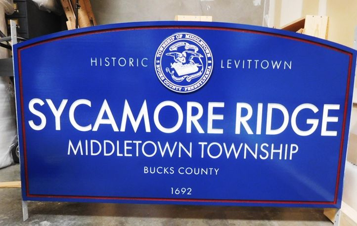 F15141 - Large Double-Faced Entrance Sign for Sycamore Ridge in Middleton Township, Pennsylvania, Carved from HDU in  2.5-D Engraved Relief