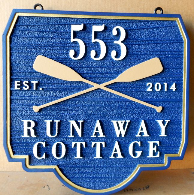 """M22452 - Carved Sandblasted (Wood Grain)  Street Address Sign for """"Runaway Cottage"""" with Two Canoe Paddles"""