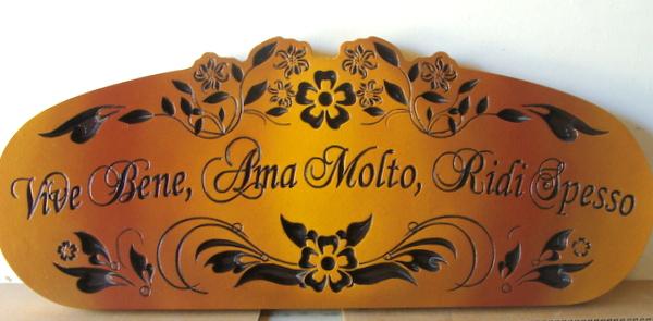 """R27044  -Carved Cedar Wine Plaque, """"Vene Bene, Ama Molto, Ridi Spesso"""", or  """"Live Well, Love Much, Laugh Often"""""""