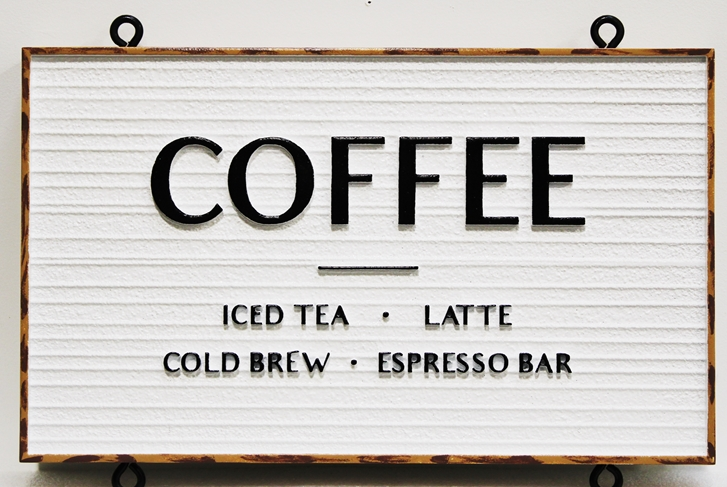 "Q25663 - -  Carved and Sandblasted Wood Grain HDU  Hanging Sign for ""The North Shore Crepes Cafe""  with ""Coffee"" as Text"