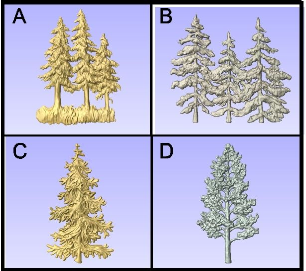 GA16730 - Carved 3-D Pine Trees