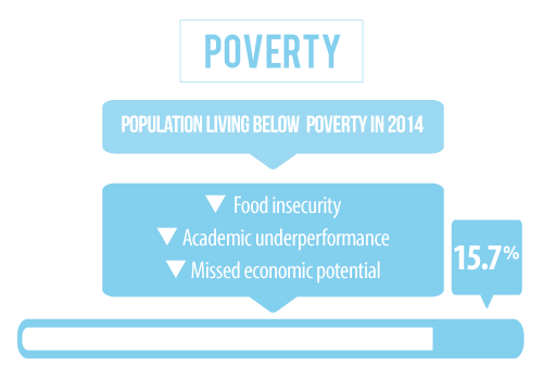 14 percent of the population in Hall County Nebraska is living below the poverty line