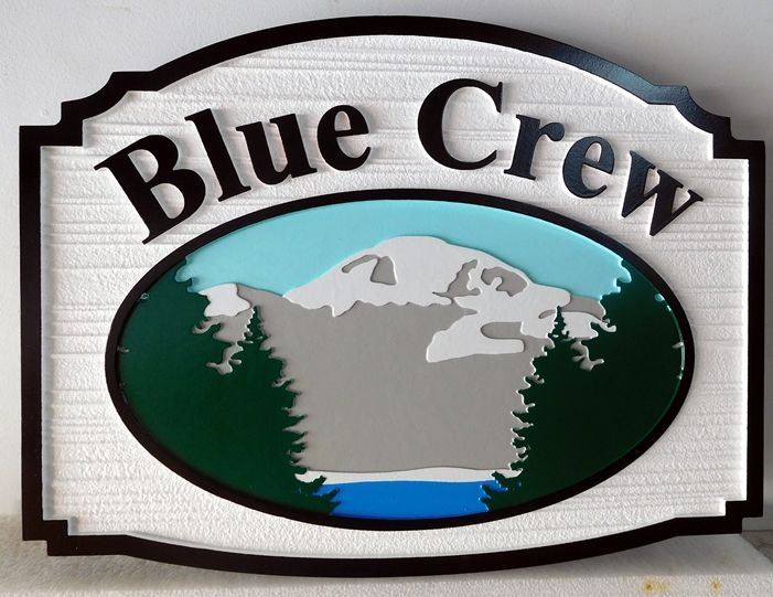"M22319 -  Carved and Sandblasted Lake Cabin Sign, with Mountains, Lake and Trees ""Blue Crew"""