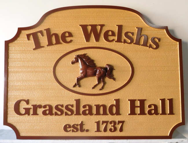 "P25124 - Carved  HDU Sign for Horse farm ""Grassland Hall"" Carved in Woodgrain Pattern with 3-D Horse"
