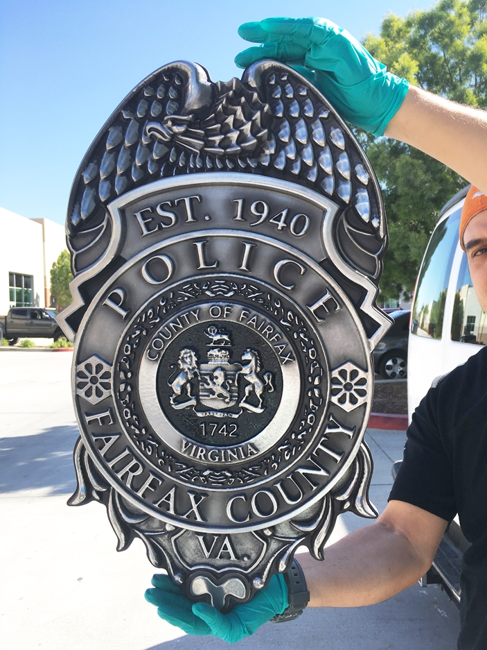PP-1120 - Carved Wall Plaque of the Police  Badge of  Fairfax County, Virginia, Aluminum Plated with Hand-Rubbed Black Paint