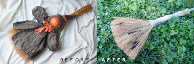 Goodwill DIY witch's broom before and after picture