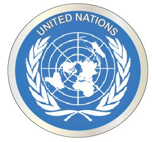 V31994 - Carved Mahogany Wall Plaque of Emblem of United Nations (UN), Blue  & White Flag Version