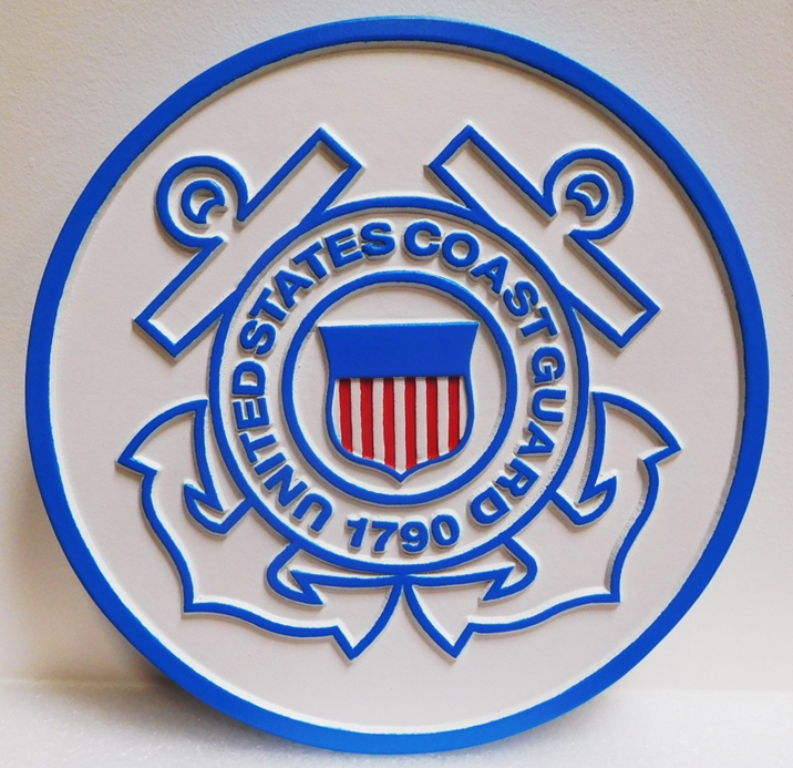 NP-1345 - Carved Plaque Great Seal of the US Coast Guard, 2.5-D Outline Relief, 2.5-D Outline Relief, Artist-Painted