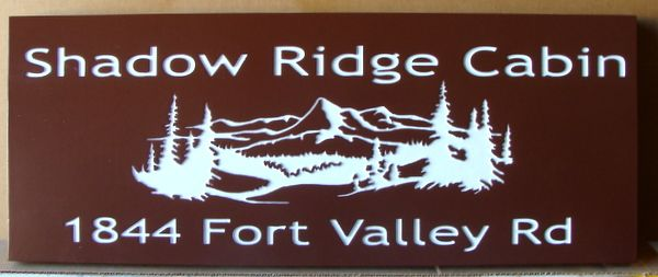 M3408 -  Painted Cedar Cabin  Address Sign for Shadow Ridge Cabin with Engraved Mountains, Valley and Forest (Gallery 21)