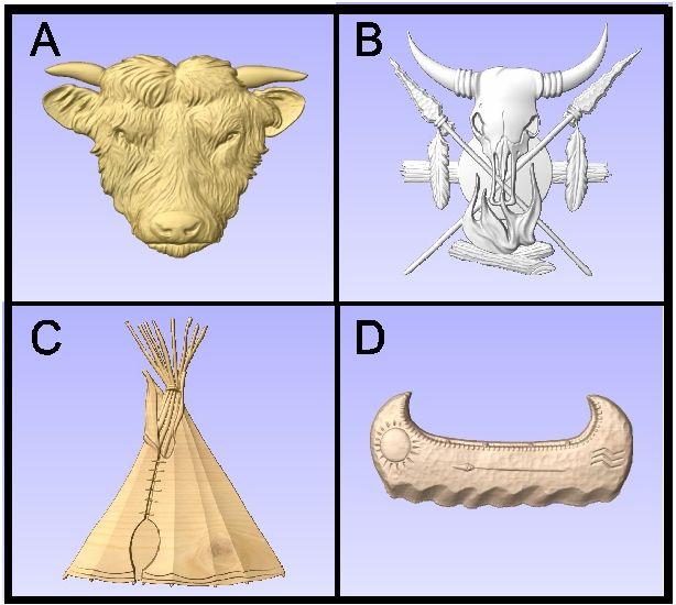 O24997 - Carved 3D Wood Appliques of Native American Symbols (Bison head, shield & spears, tepee, birchbark canoe)