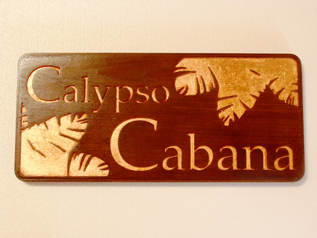Q25176 - Carved Cedar Wood Sign for Calypso Cabana Restaurant Sign with Carved 24K Gold Leaf-Gilt Leaves and Letters