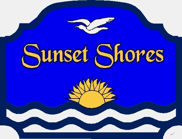 "L21219- Sign for  ""Sunset Shores"" Beach House with Sun, Bird and Waves"