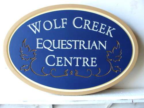 P25205 - Custom Carved HDU Equestrian Centre Entrance Sign