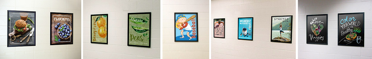Food posters in frames, nutrition education, custom signs, school signs