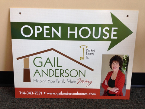 Open house real estate signs Fullerton CA