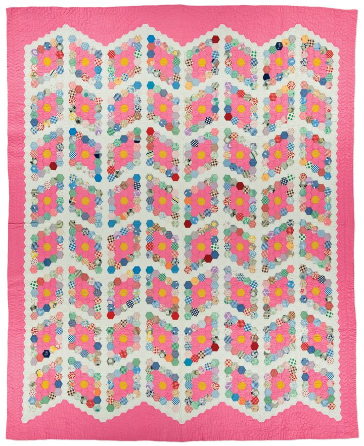 Field of Diamonds, made by Ella Harnan, circa 1930-1950, made in Lincoln County, Nebraska, hand pieced, hand quilted, 96.5 x 78.5 inches, IQSCM 2011.015.0002, gift of Kenneth and Gayle LeGrand