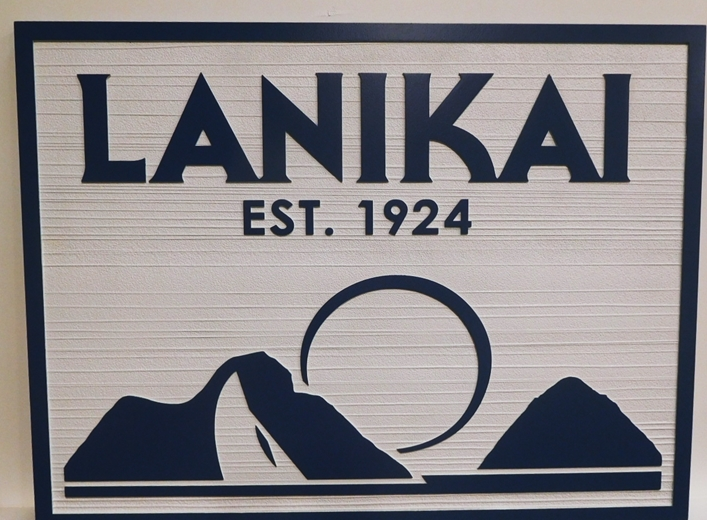 "L21129 - Carved and Sandblasted Coastal Residence Name Sign ""Lanakai"" Sign of with Rising Moon and  Mountains as Artwork"