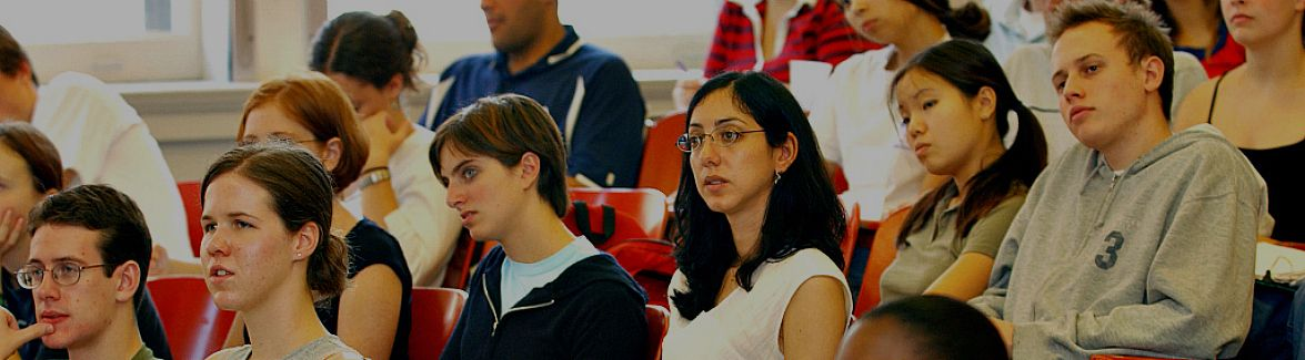 College students in a lecture style classroom