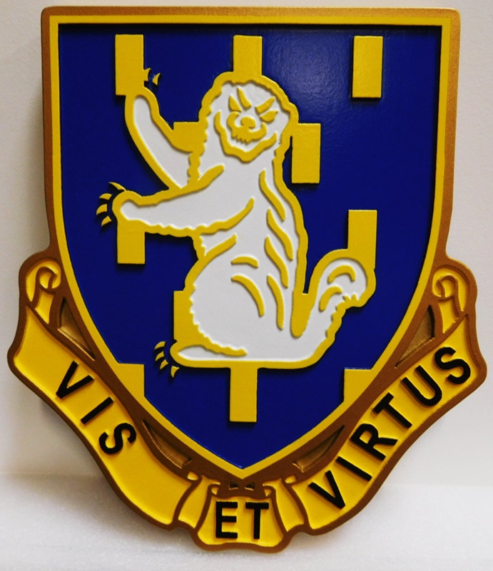 "MP-2075 - Carved Plaque of the Crest of the US Army 337th Regiment Unit with Slogan  ""Vis Et Virtus"" or ""Strength and Courage"", Artist-Painted"
