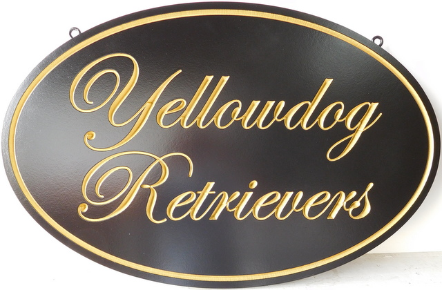 "SA28049 - Elegant Sign ""Yellowdog Retrievers"" with Engraved Script Text and Border,  24K Gold Leaf"