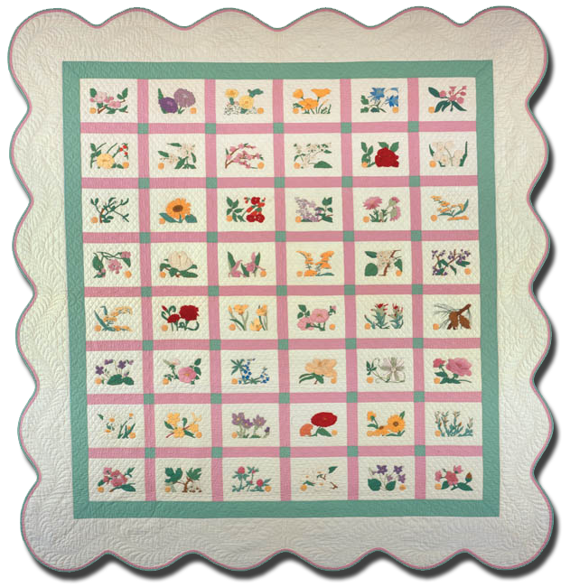State Flowers, Made by Eda R. Sharpe, Made in Noblesville, Indiana, United States, Dated 1932, 83.5 x 78.5 in, IQSC   2004.021.0001