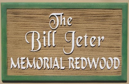 GC16957 - Dimensional Sandblasted Memorial Plaque next to a Redwood Tree