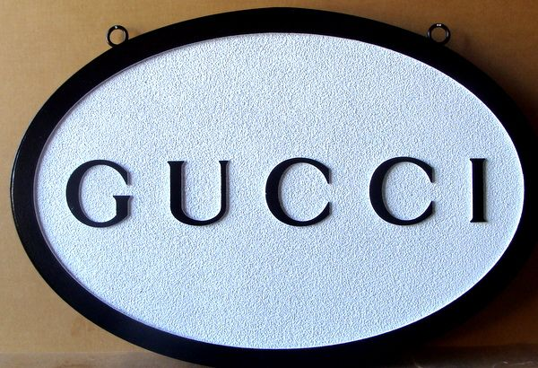 """SA28051 - Sandstone Texture Sandblasted High Density Urethane Sign for Retail Store: """"Gucci"""""""