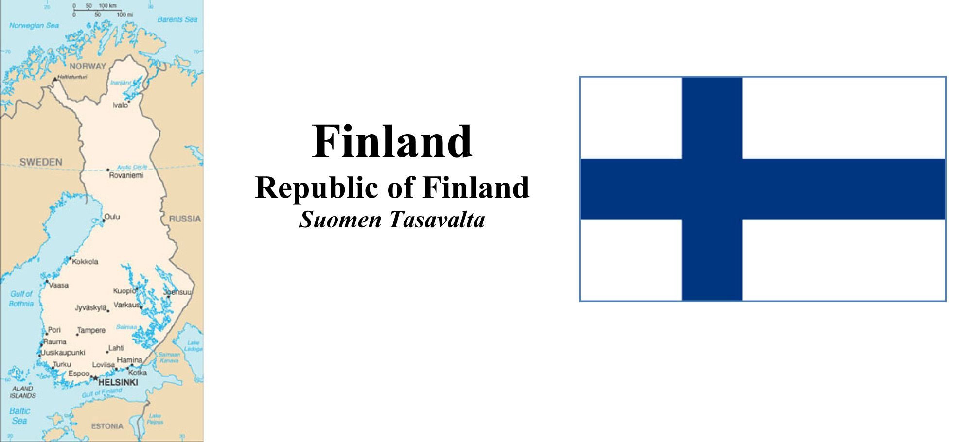 Map and Flga of Finland