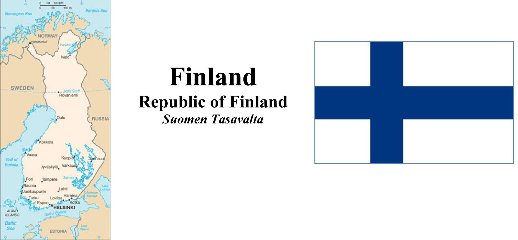 Map and Flga of Finland