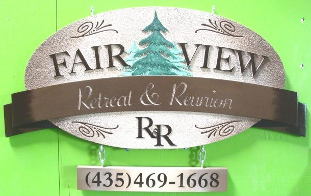 M22086 - Sign for Retreat and Reunion, Spruce Trees