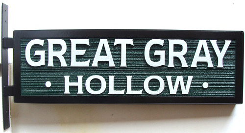 """I18395 -  2.5-D Sandblasted HDU Property Name Sign, with Iron Border (""""Great Gray Hollow"""")"""