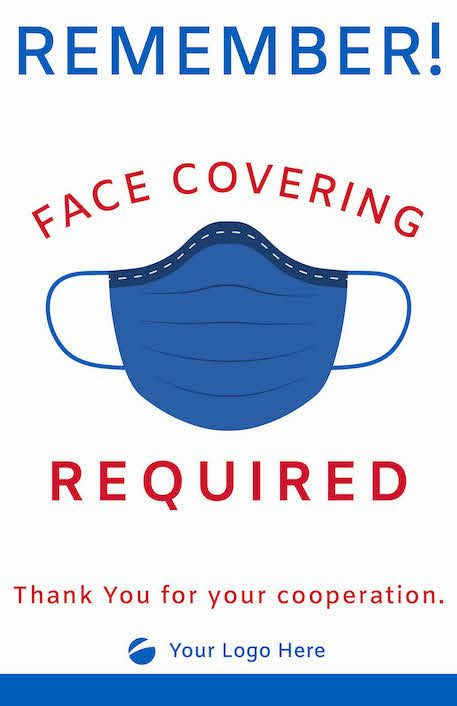 Face Covering Signage -Blue/Red