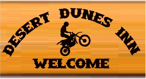 "T29112- Carved  Cedar Wood  Sign for the ""carved Cedar wood  sign for the ""Desert Dunes Inn""., with Dirt Bike Doing a Wheely as Artwork"