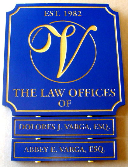 A10527 - Law Office Engraved Directory Sign, with Changeable Rider Signs