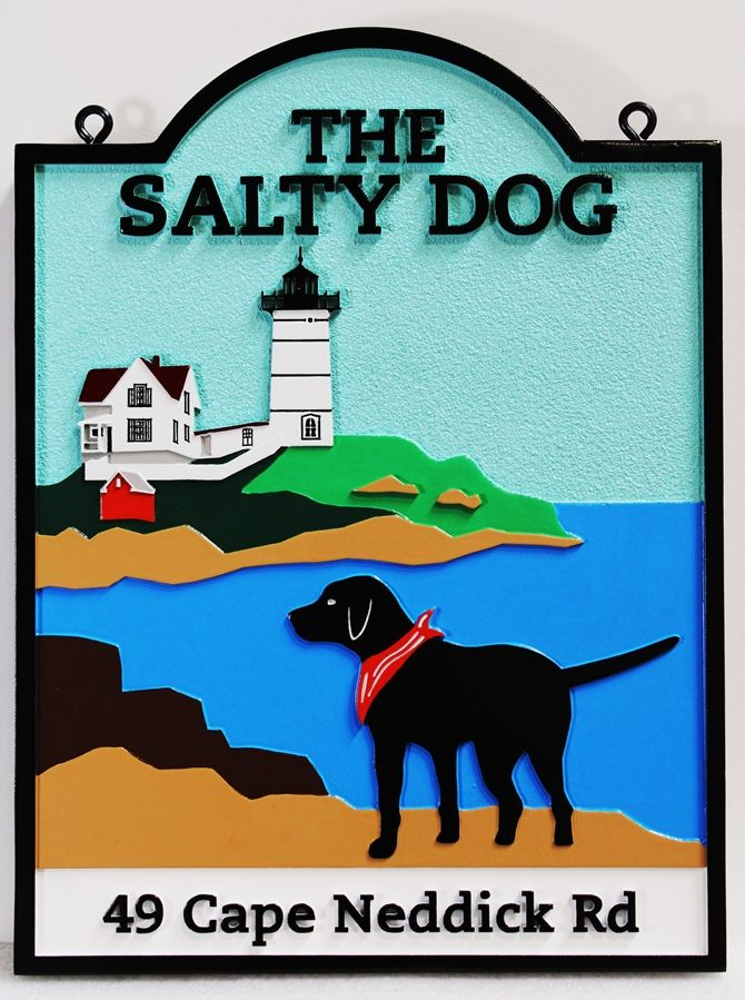 """L21439 -  Carved and Sandblasted HDU Coastal Residence Sign, the """"Salty Dog"""",  with  Lighthouse"""