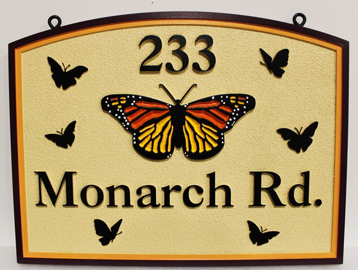 M17033 - Carved HDU Street Name Sign, Monarch Road. 2.5- Artist-Pained with Butterflies as Artwork