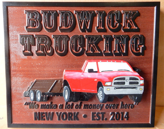 S28085 - Carved Cedar Sign for Trucking Company, with 3-D Pickup Truck as Artwork