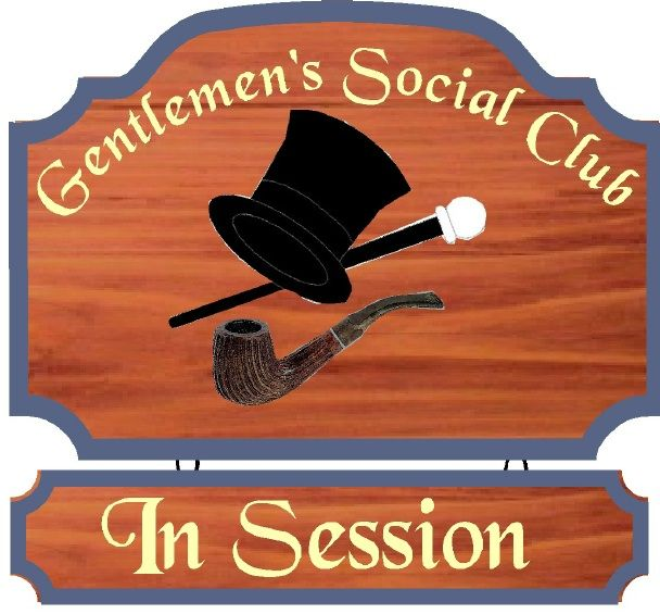 """N23616 -  Ornate Redwood  Wall Plaque for """"Gentleman's Social Club""""  with  Artwork (Pipe, Top hat and Cane)"""